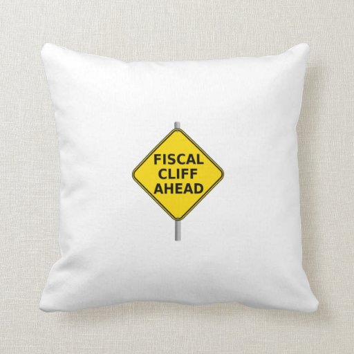 Fiscal Cliff Ahead Sign Pillow