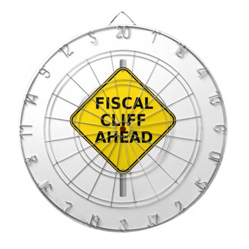 Fiscal Cliff Ahead Sign Dartboard With Darts