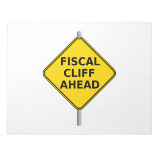 Fiscal Cliff Ahead Sign Memo Notepads