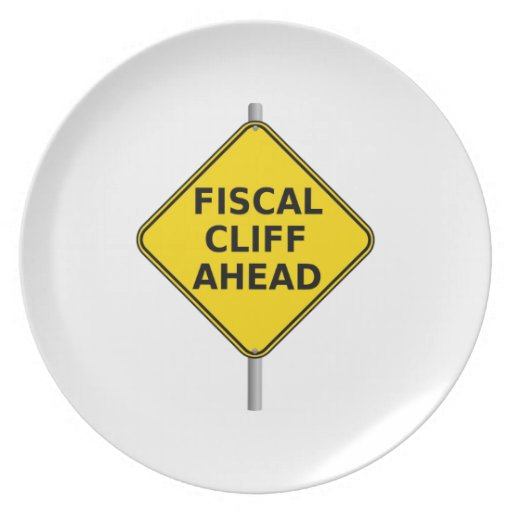 Fiscal Cliff Ahead Sign Dinner Plate