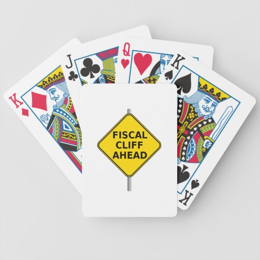 Fiscal Cliff Ahead Sign Bicycle Poker Cards