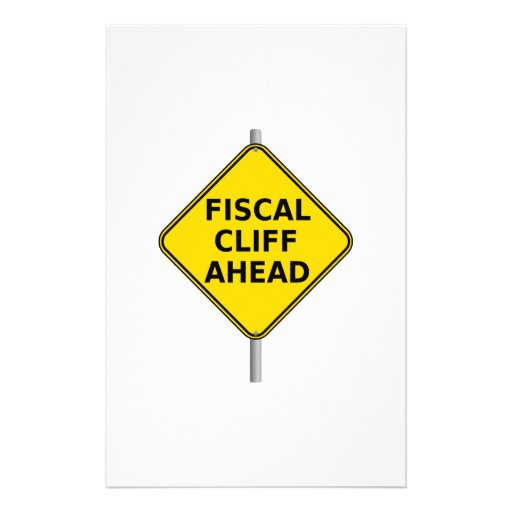 Fiscal Cliff Ahead Sign Stationery Paper