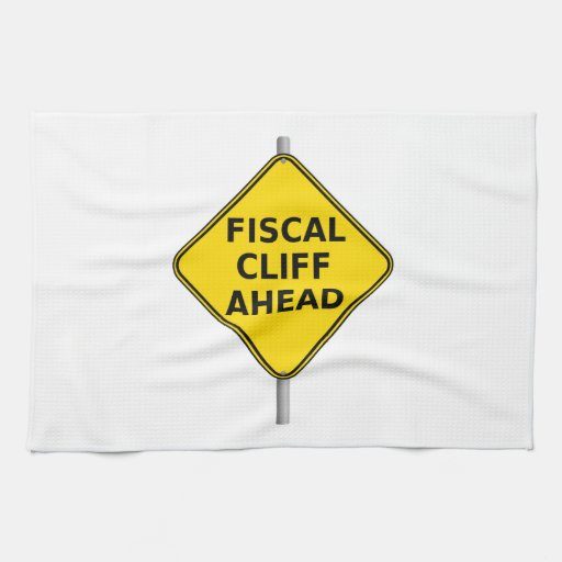 Fiscal Cliff Ahead Sign Towel