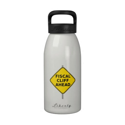 Fiscal Cliff Ahead Sign Water Bottle