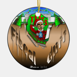 Fiscal Cliff Double-Sided Ceramic Round Christmas Ornament