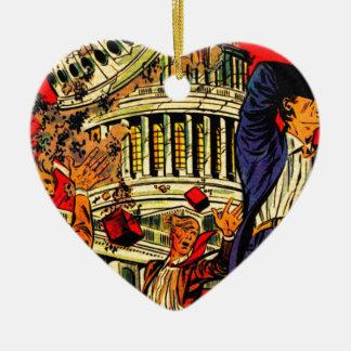 Fiscal Cliff Political Apocalypse Ceramic Heart Decoration