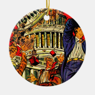 Fiscal Cliff Political Apocalypse Round Ceramic Decoration