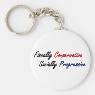 Fiscally Conservative, Socially Progressive 2 Basic Round Button Key Ring