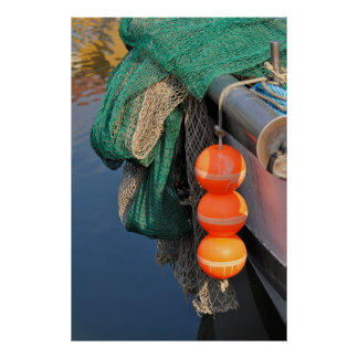Fischer net with buoys at the boat, posters