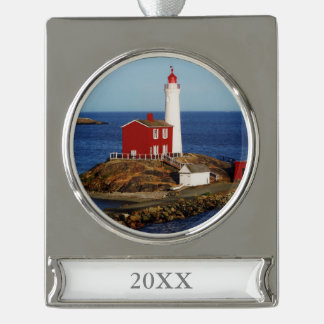 Fisgard Lighthouse Silver Plated Banner Ornament