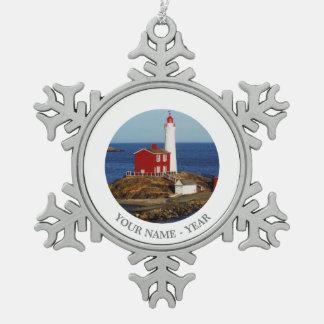 Fisgard Lighthouse Snowflake Pewter Christmas Ornament