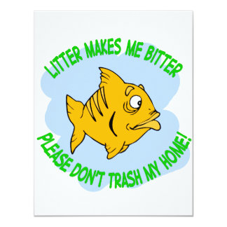 fish 11 cm x 14 cm invitation card