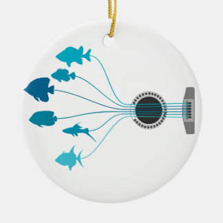 Fish a guitar christmas ornament