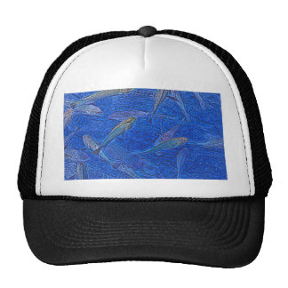 fish abstract blue sketch animal design cap