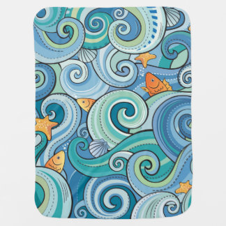 Fish Among The Waves Pattern Baby Blanket