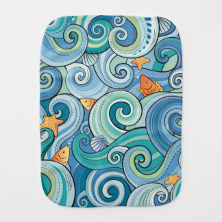 Fish Among The Waves Pattern Burp Cloth