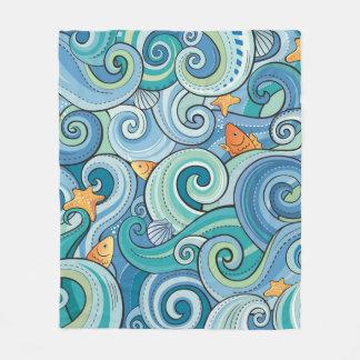 Fish Among The Waves Pattern Fleece Blanket