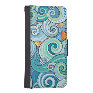 Fish Among The Waves Pattern iPhone SE/5/5s Wallet Case