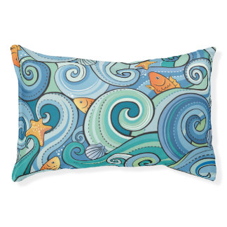 Fish Among The Waves Pattern Pet Bed