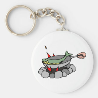 Fish and a Campfire Key Ring