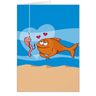 Fish and Bait in Love Greeting Cards
