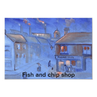 Fish and chip shop 9 cm x 13 cm invitation card