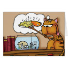 Fish and Chips Cat Card