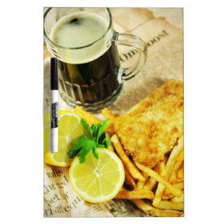 Fish and chips dry erase white board