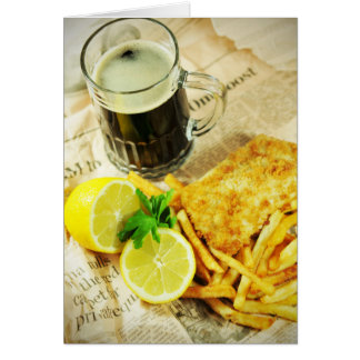Fish and chips greeting card