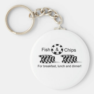 Fish and Chips poker player t items Basic Round Button Key Ring