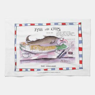 fish and chips recipe, tony fernandes tea towel