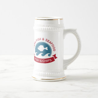 Fish And Chips Seafood Logo Beer Steins