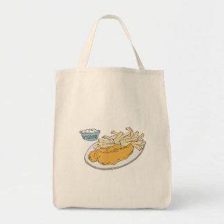 fish and chips tote bag