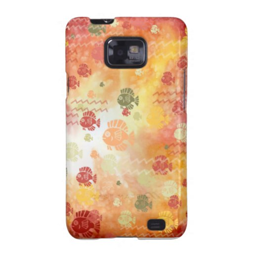 Fish and Waves in Red Samsung Galaxy Cover