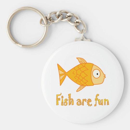 Fish are Fun Basic Round Button Key Ring