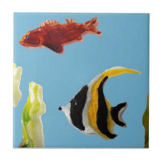 Fish Art swimming in the sea Small Square Tile