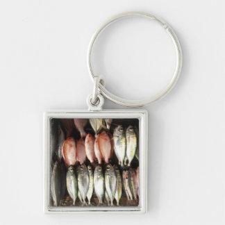 Fish at market, town of Kalabahi, Alor Island, 2 Silver-Colored Square Key Ring