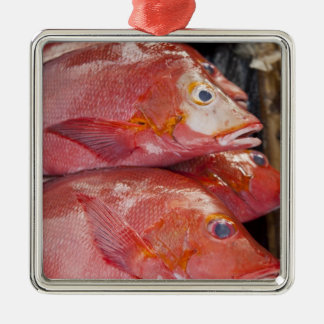 Fish at market, town of Kalabahi, Alor Island, Square Metal Christmas Ornament
