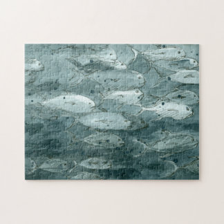 Fish Black And White Watercolor Jigsaw Puzzle
