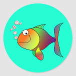 Fish: Blowing Bubbles Round Sticker