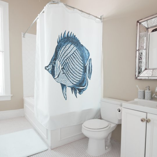 Fish blue coastal nautical watercolor shower curtain