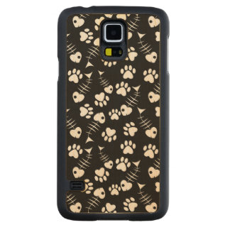 fish bone cat pattern maple galaxy s5 slim case