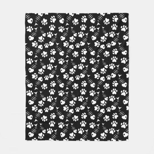 fish bone cat print pattern fleece blanket