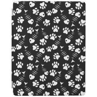 fish bone cat print pattern iPad cover
