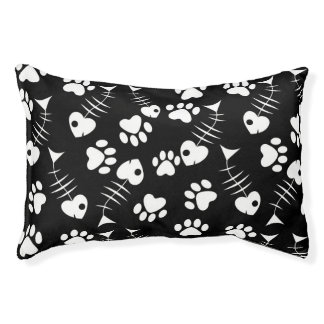 fish bone cat print pattern pet bed