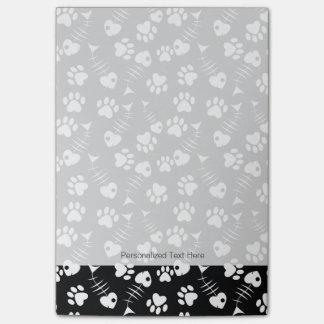 fish bone cat print pattern post-it notes