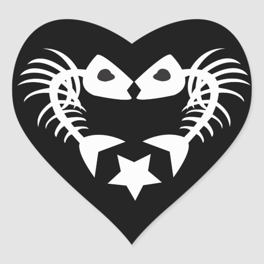 Fish Bone Heart Sticker - BLACK