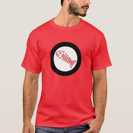 fish bone scales round logo red white black