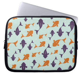 Fish Bowl | Aqua Orange Pattern Design Laptop Sleeve