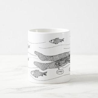 Fish caught in fishnets coffee mug
